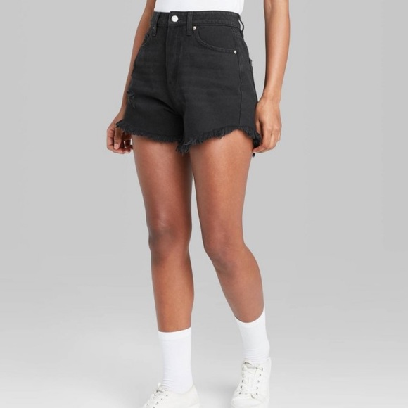Wild Fable Black High Rise Denim Shorts